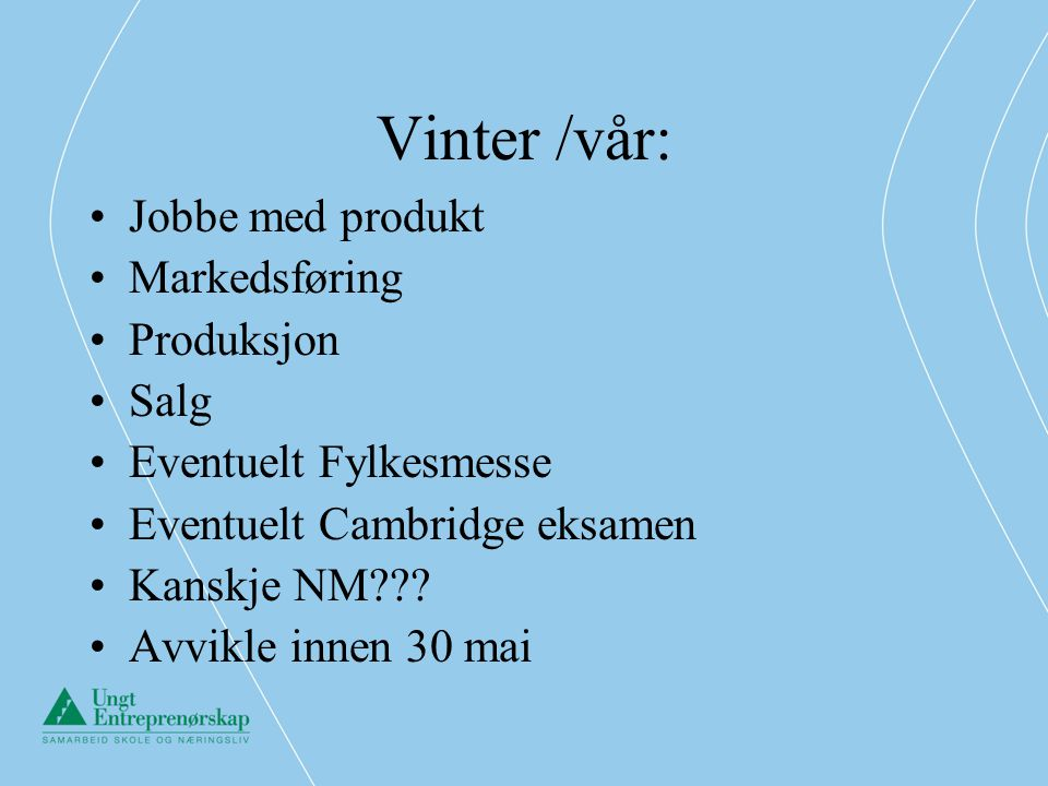 Vinter /vår: Jobbe med produkt Markedsføring Produksjon Salg