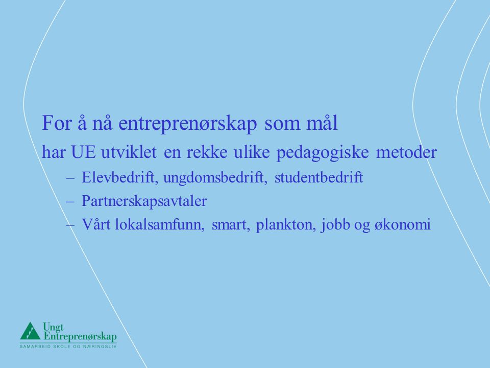 For å nå entreprenørskap som mål
