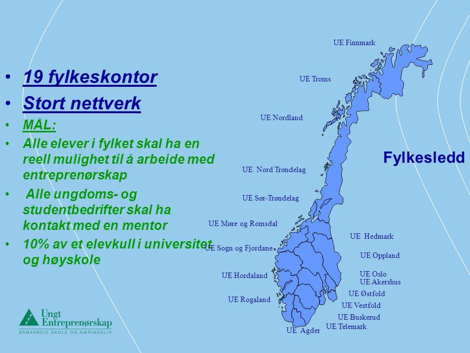19 fylkeskontor Stort nettverk Fylkesledd MÅL: