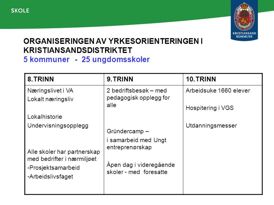 ORGANISERINGEN AV YRKESORIENTERINGEN I KRISTIANSANDSDISTRIKTET 5 kommuner - 25 ungdomsskoler