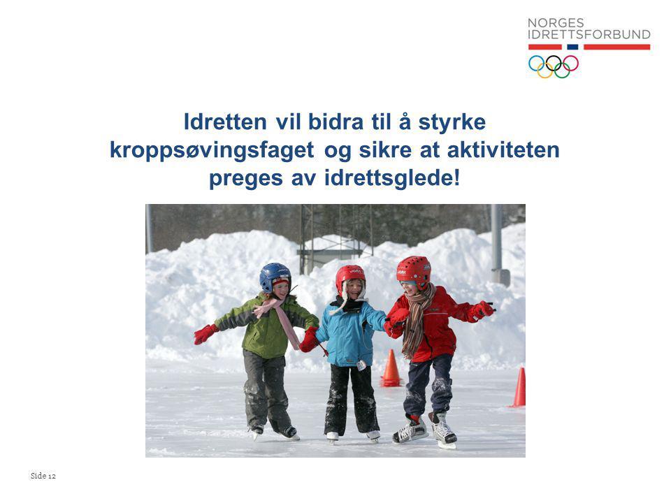 Idretten vil bidra til å styrke kroppsøvingsfaget og sikre at aktiviteten preges av idrettsglede!