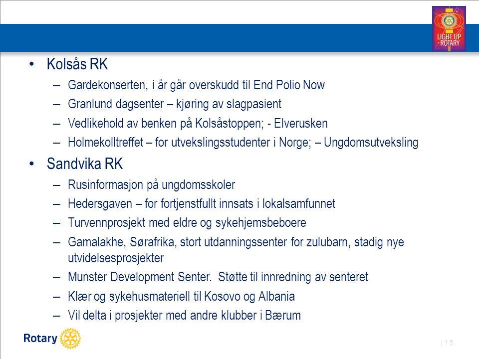 Kolsås RK Gardekonserten, i år går overskudd til End Polio Now. Granlund dagsenter – kjøring av slagpasient.