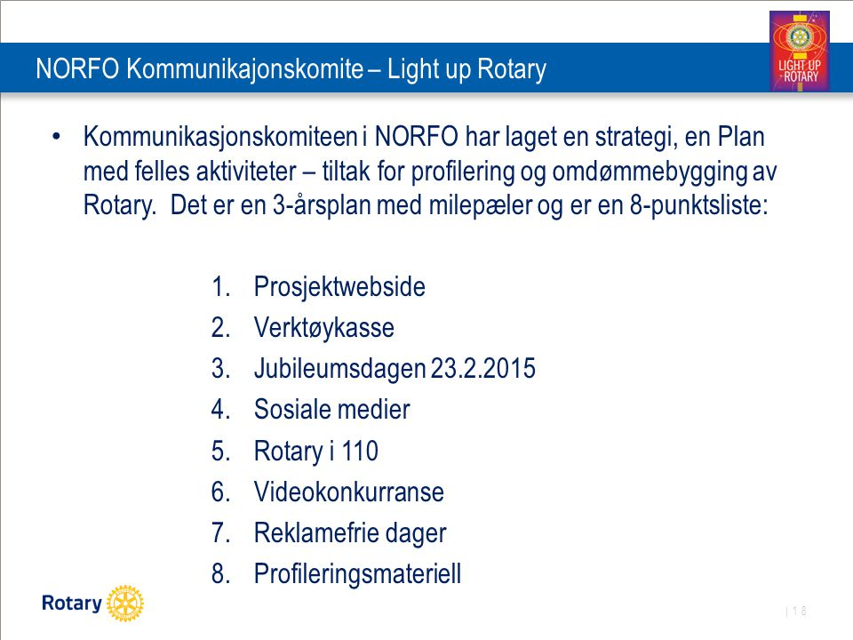 NORFO Kommunikajonskomite – Light up Rotary