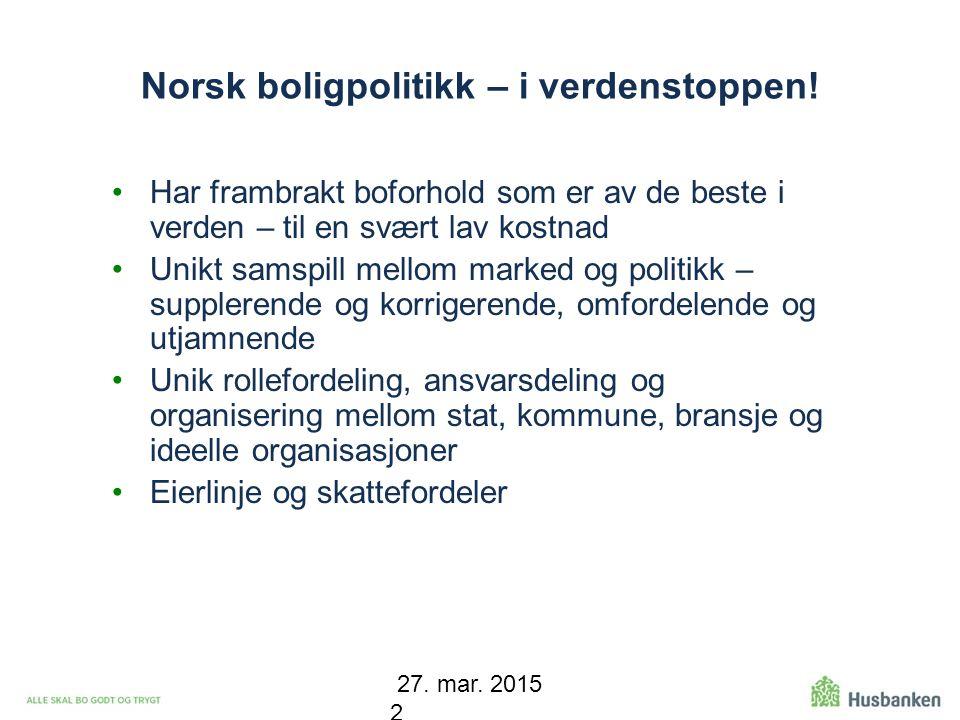 Norsk boligpolitikk – i verdenstoppen!