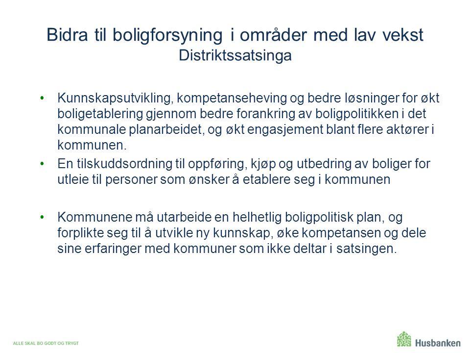 Bidra til boligforsyning i områder med lav vekst Distriktssatsinga