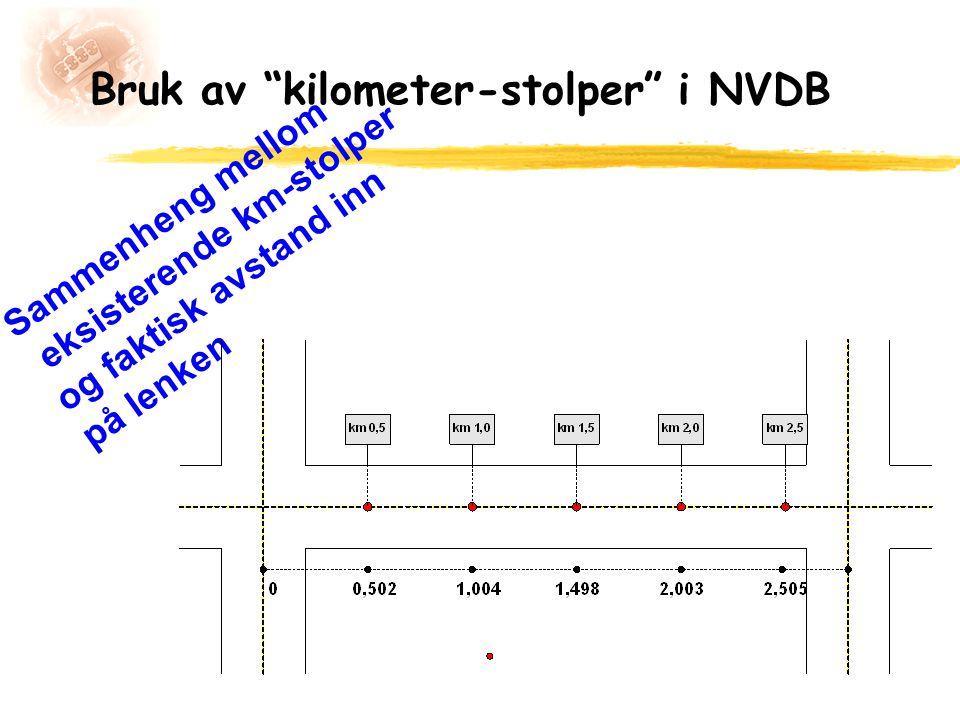 Bruk av kilometer-stolper i NVDB