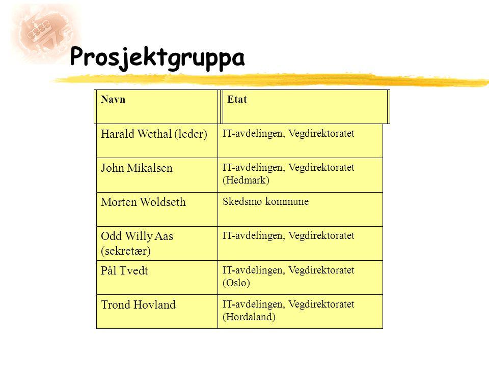 Prosjektgruppa Harald Wethal (leder) John Mikalsen Morten Woldseth
