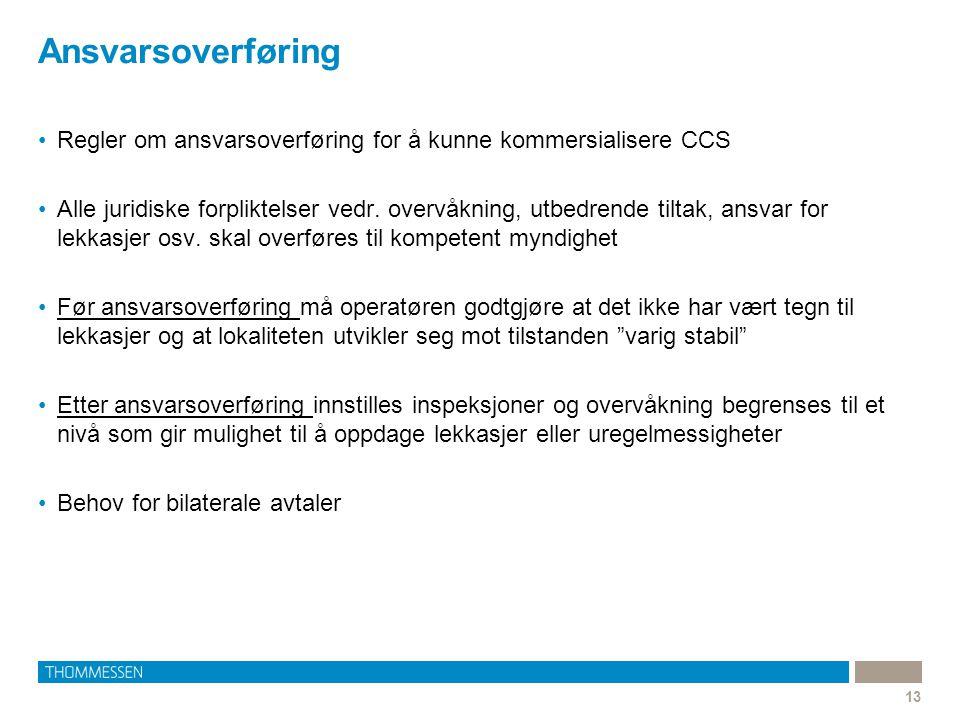 Ansvarsoverføring Regler om ansvarsoverføring for å kunne kommersialisere CCS.