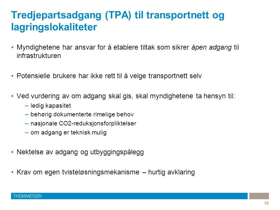 Tredjepartsadgang (TPA) til transportnett og lagringslokaliteter