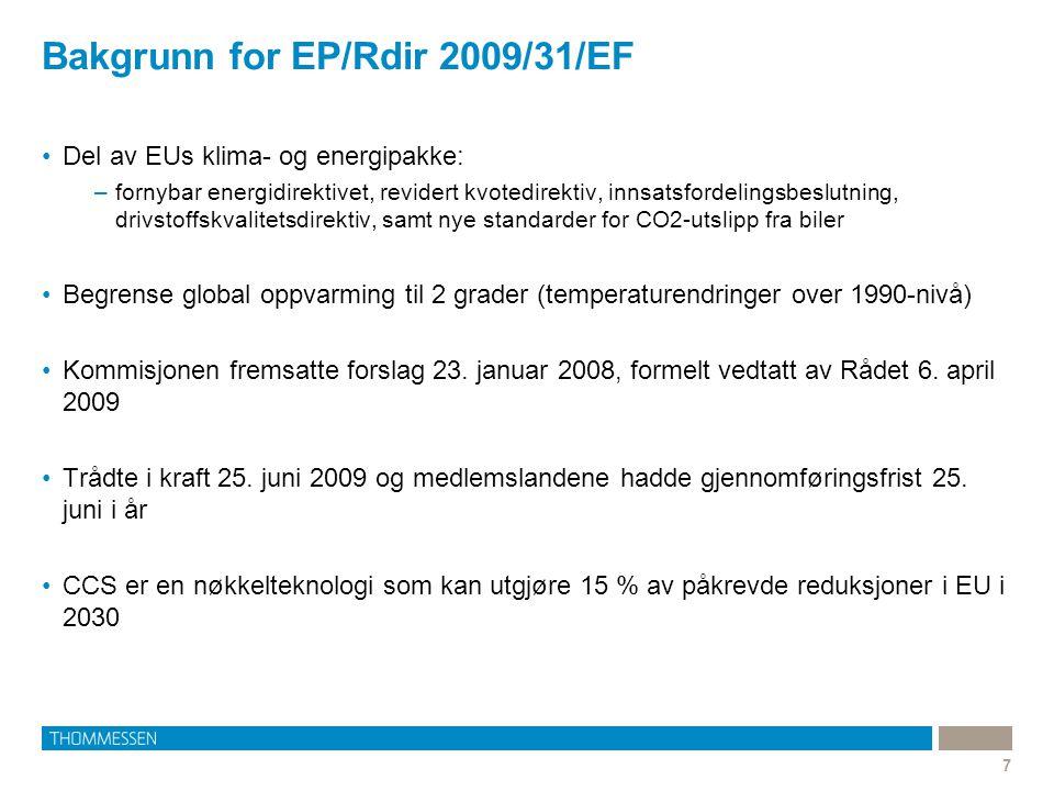 Bakgrunn for EP/Rdir 2009/31/EF