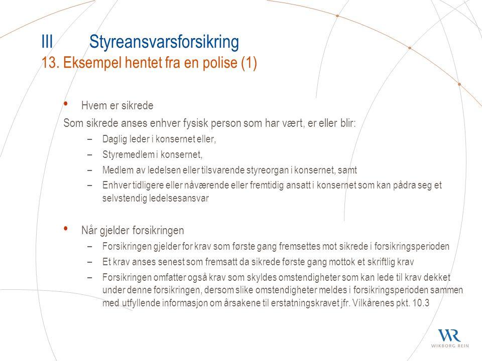III Styreansvarsforsikring 13. Eksempel hentet fra en polise (1)