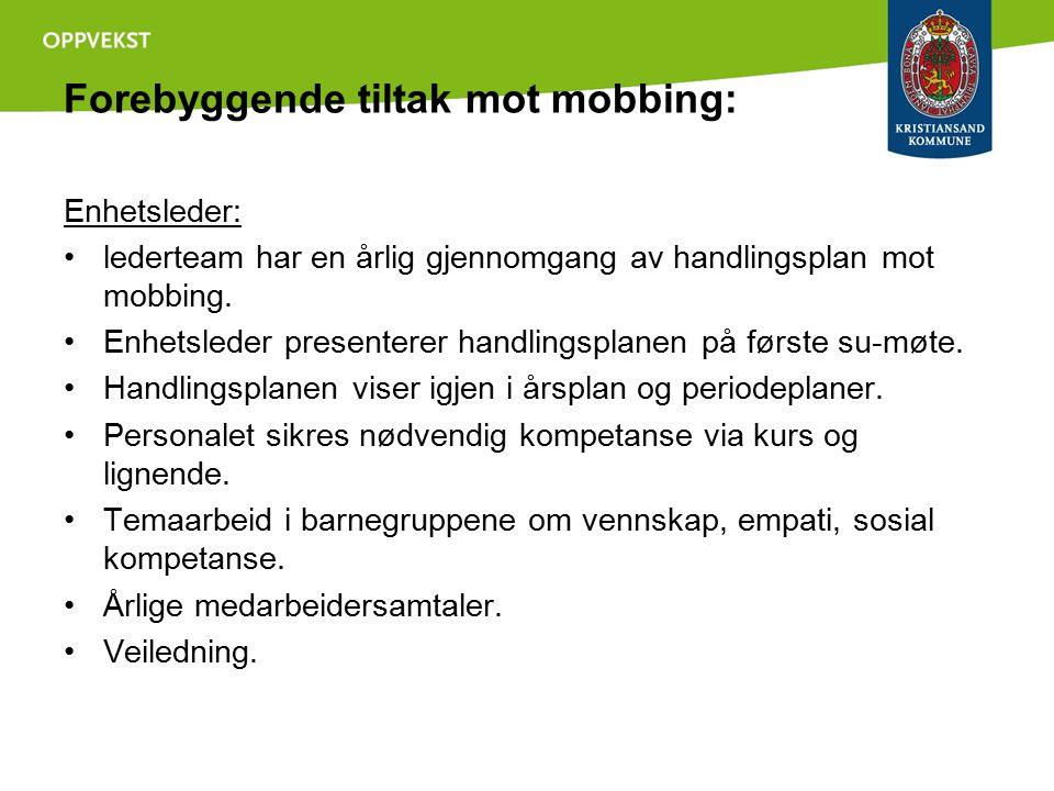 Forebyggende tiltak mot mobbing: