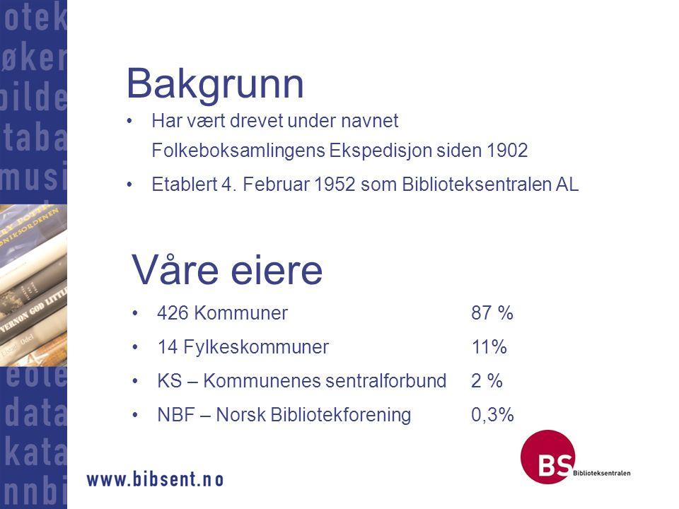 Bakgrunn Har vært drevet under navnet Folkeboksamlingens Ekspedisjon siden 1902. Etablert 4. Februar 1952 som Biblioteksentralen AL.