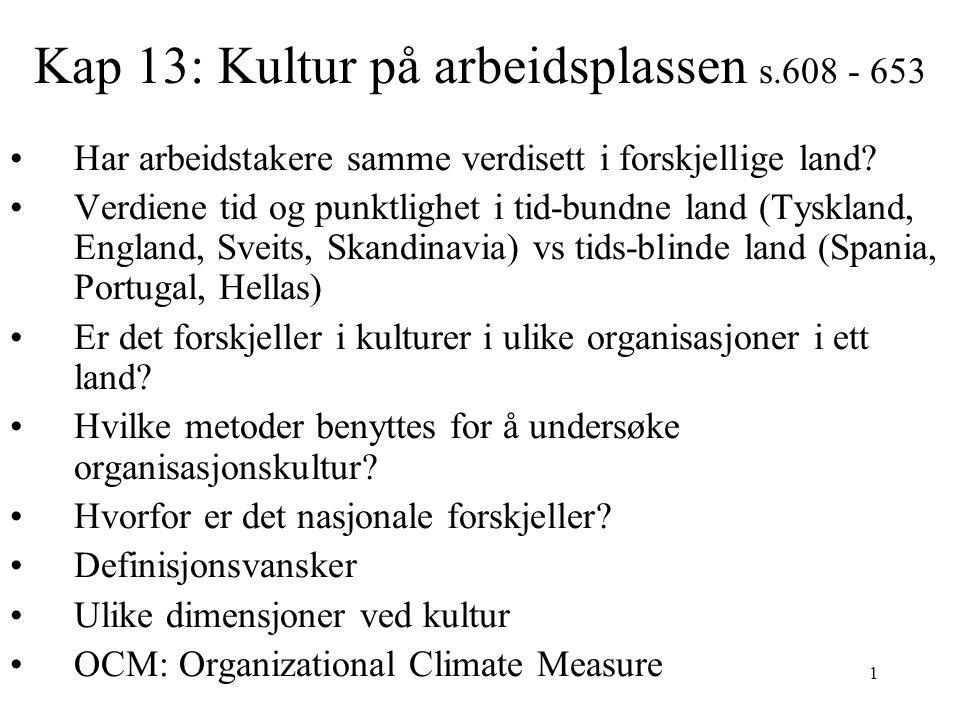 Kap 13: Kultur på arbeidsplassen s.608 - 653