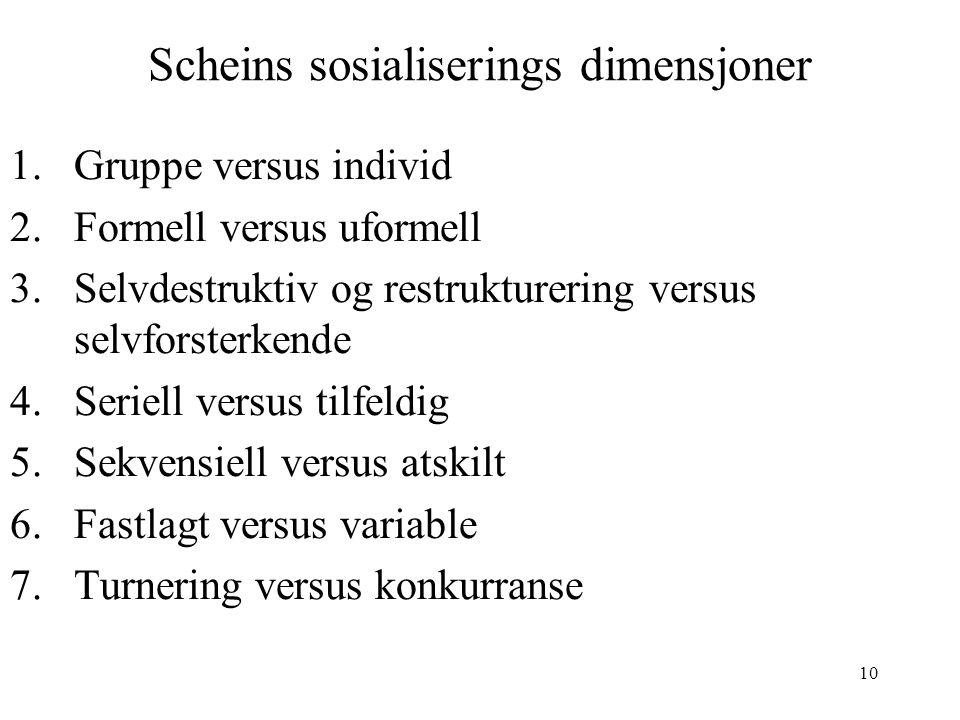 Scheins sosialiserings dimensjoner