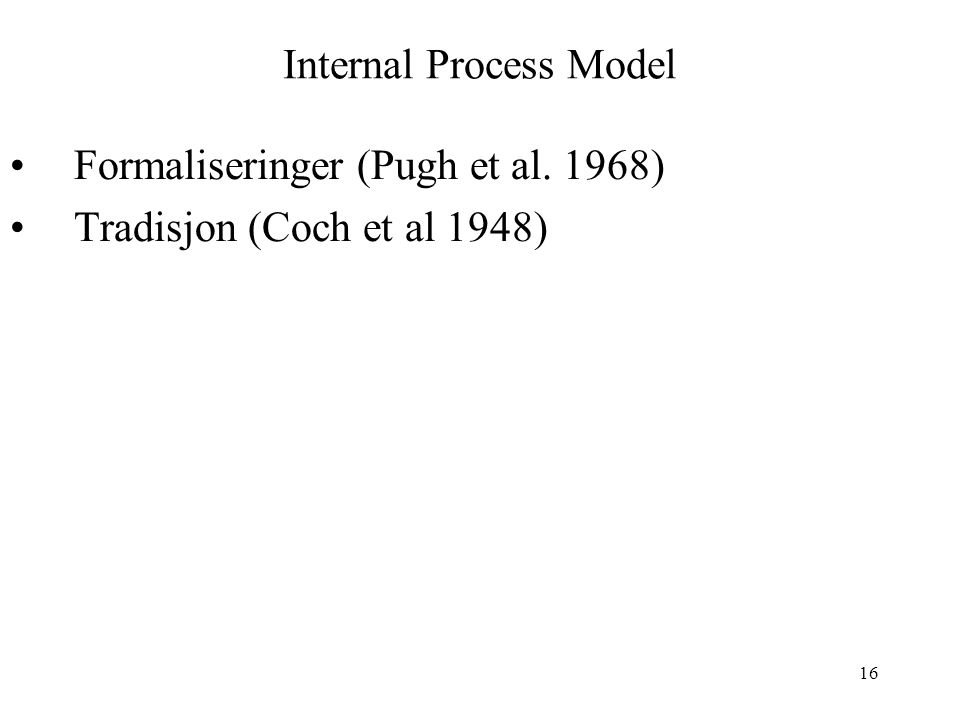 Internal Process Model