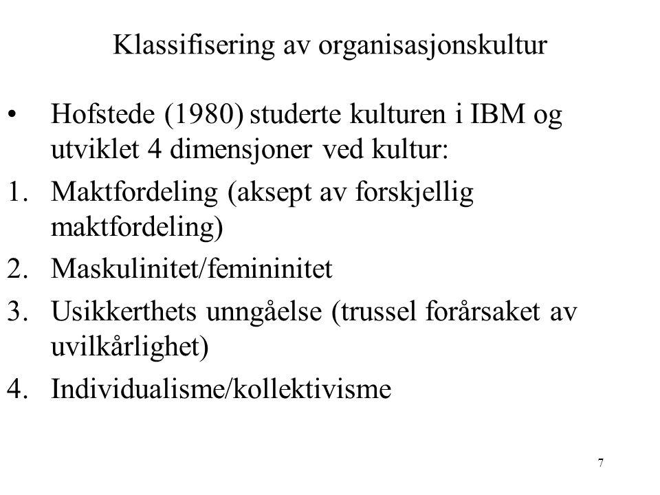 Klassifisering av organisasjonskultur