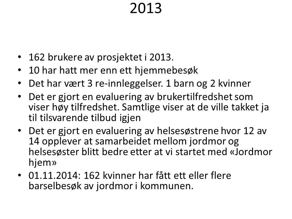 2013 162 brukere av prosjektet i 2013.