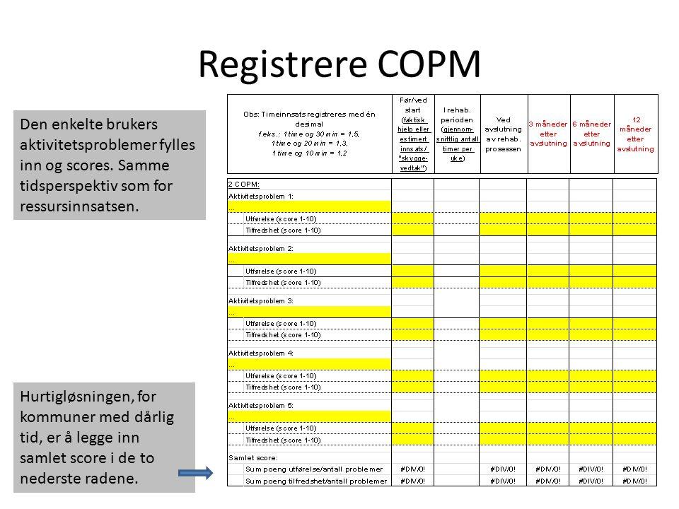 Registrere COPM Den enkelte brukers aktivitetsproblemer fylles inn og scores. Samme tidsperspektiv som for ressursinnsatsen.