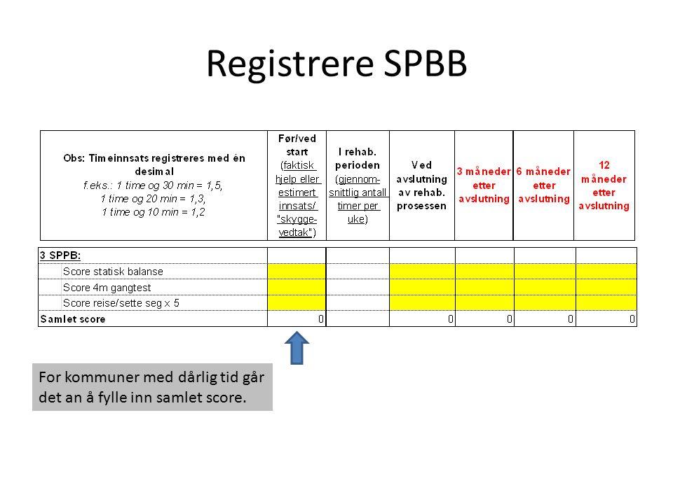 Registrere SPBB For kommuner med dårlig tid går det an å fylle inn samlet score.