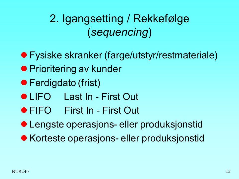 2. Igangsetting / Rekkefølge (sequencing)