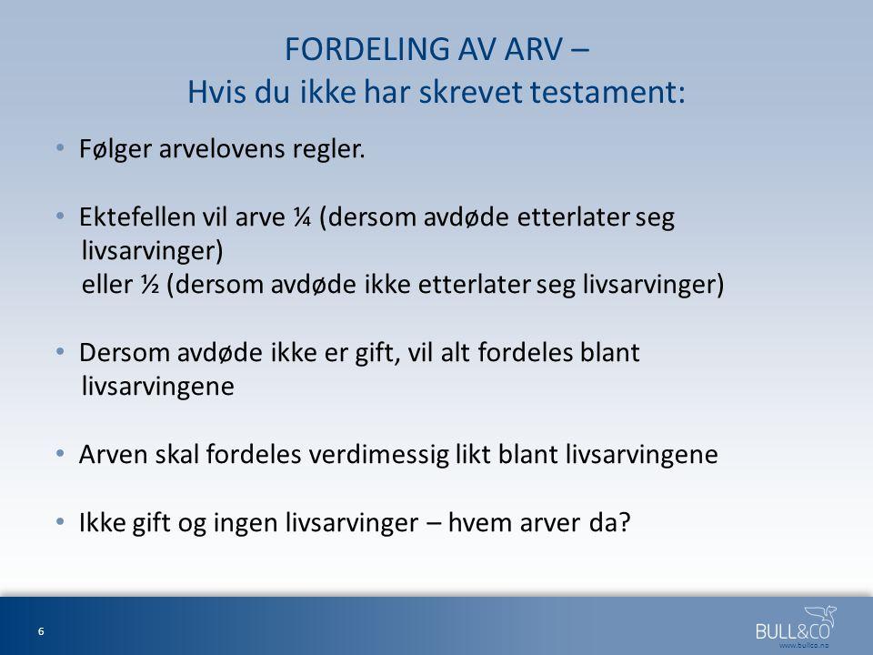FORDELING AV ARV – Hvis du ikke har skrevet testament: