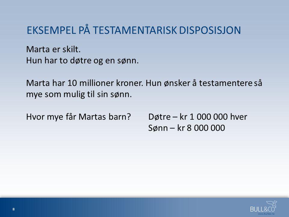EKSEMPEL PÅ TESTAMENTARISK DISPOSISJON