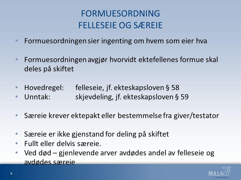 FORMUESORDNING FELLESEIE OG SÆREIE