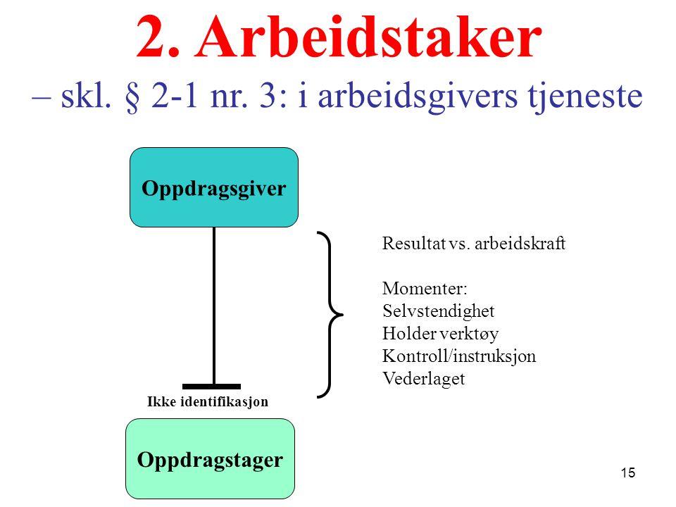 2. Arbeidstaker – skl. § 2-1 nr. 3: i arbeidsgivers tjeneste
