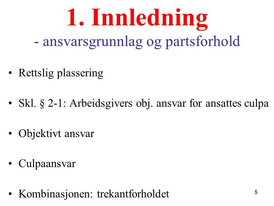 1. Innledning - ansvarsgrunnlag og partsforhold