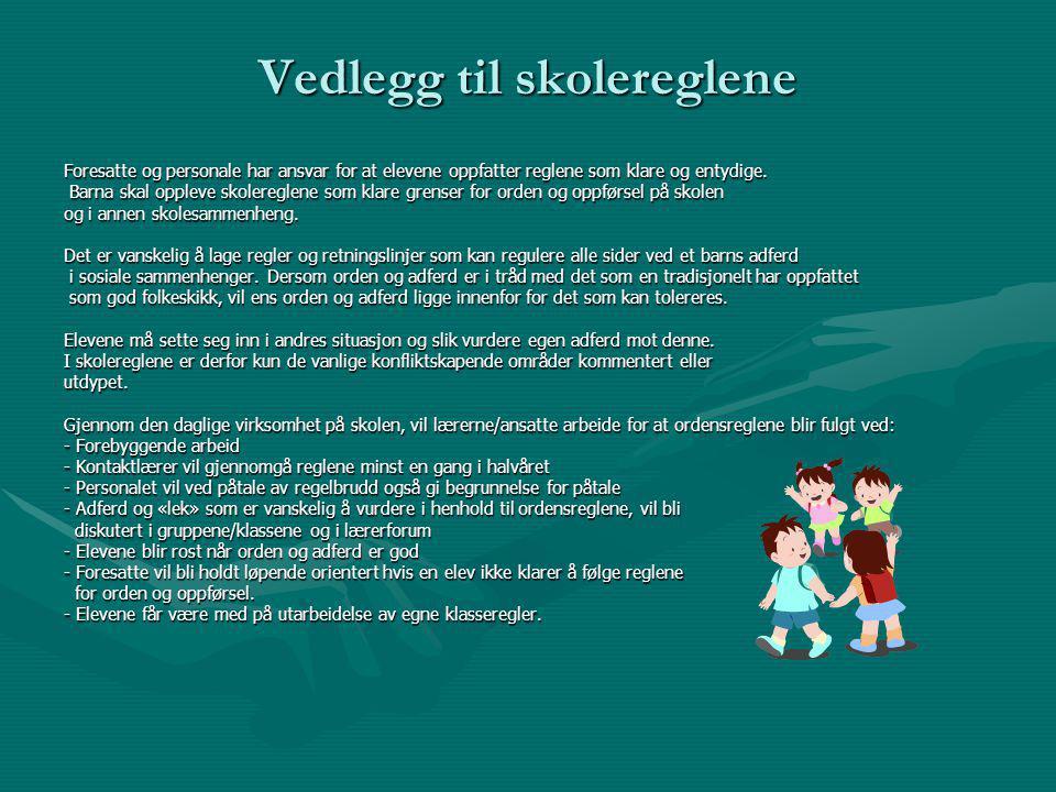 Vedlegg til skolereglene