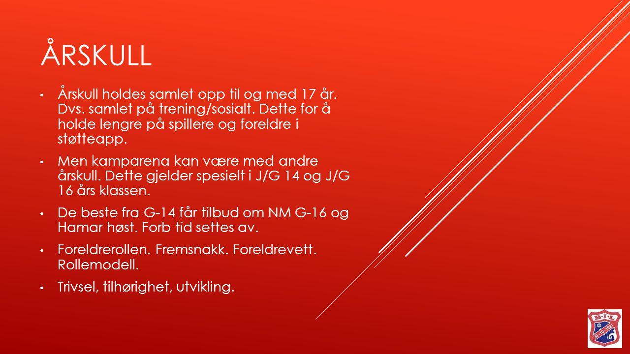 Årskull Årskull holdes samlet opp til og med 17 år. Dvs. samlet på trening/sosialt. Dette for å holde lengre på spillere og foreldre i støtteapp.