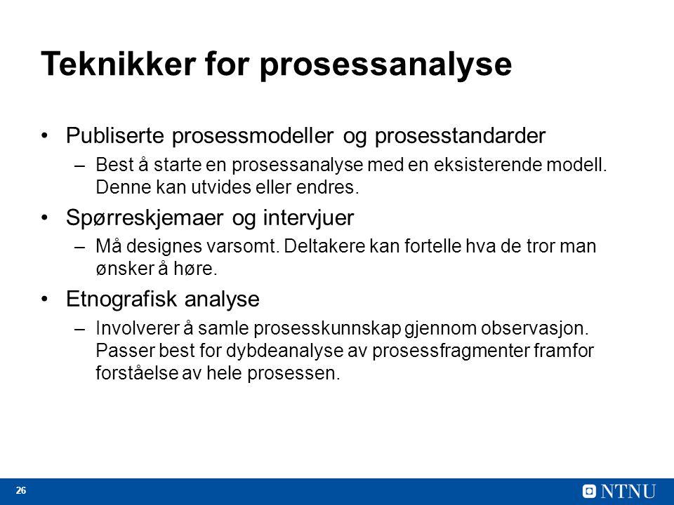 Teknikker for prosessanalyse