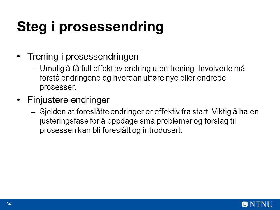 Steg i prosessendring Trening i prosessendringen Finjustere endringer