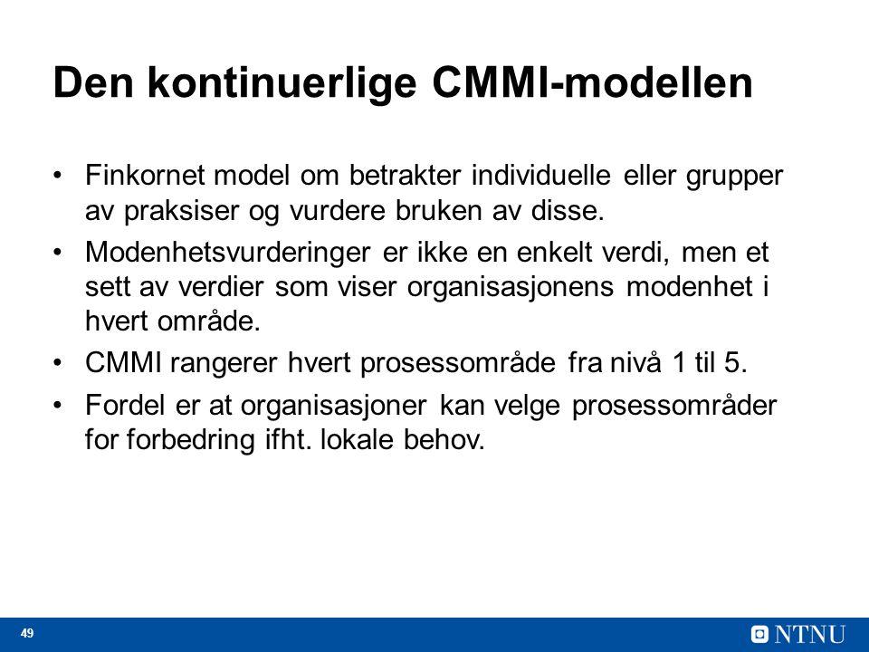 Den kontinuerlige CMMI-modellen