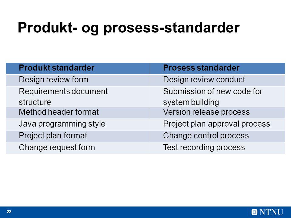 Produkt- og prosess-standarder
