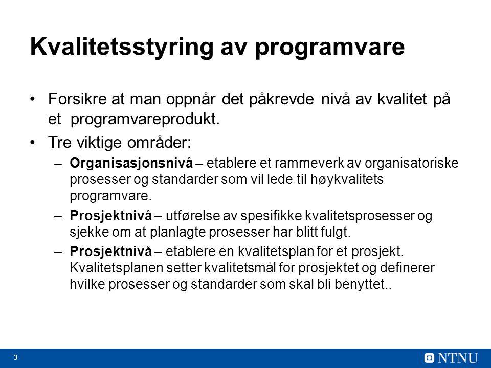 Kvalitetsstyring av programvare