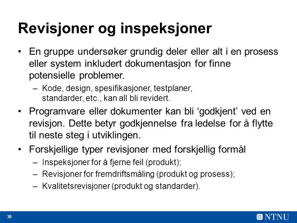 Revisjoner og inspeksjoner
