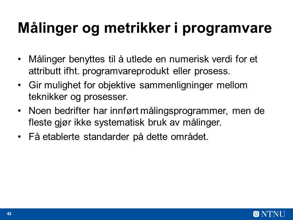 Målinger og metrikker i programvare