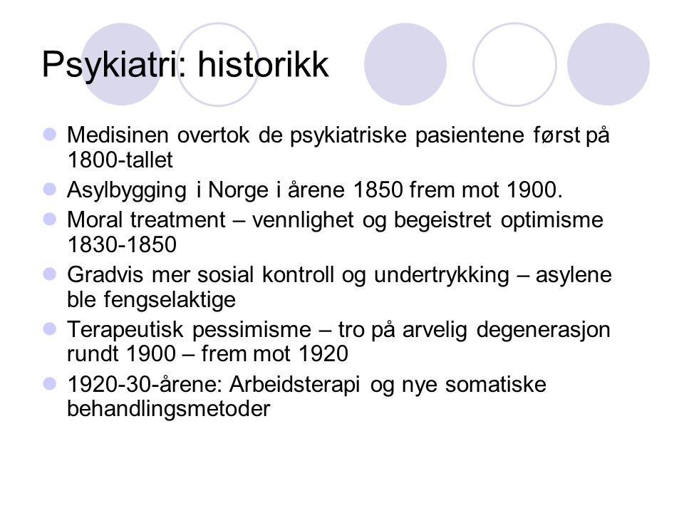 Psykiatri: historikk Medisinen overtok de psykiatriske pasientene først på 1800-tallet. Asylbygging i Norge i årene 1850 frem mot 1900.