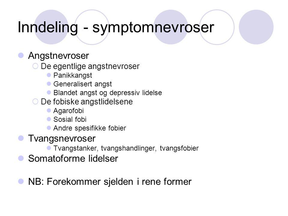Inndeling - symptomnevroser