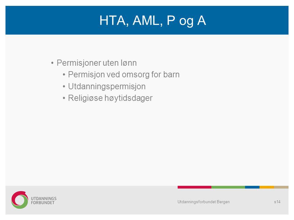 HTA, AML, P og A Permisjoner uten lønn Permisjon ved omsorg for barn