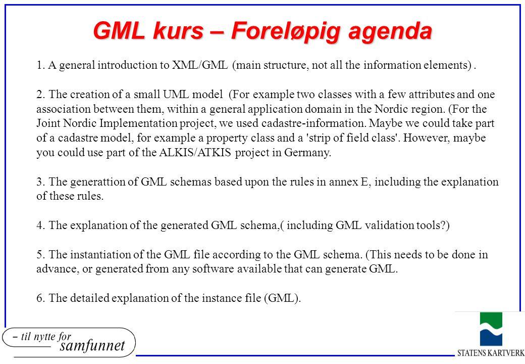 GML kurs – Foreløpig agenda