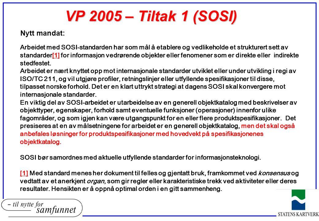 VP 2005 – Tiltak 1 (SOSI) Nytt mandat:
