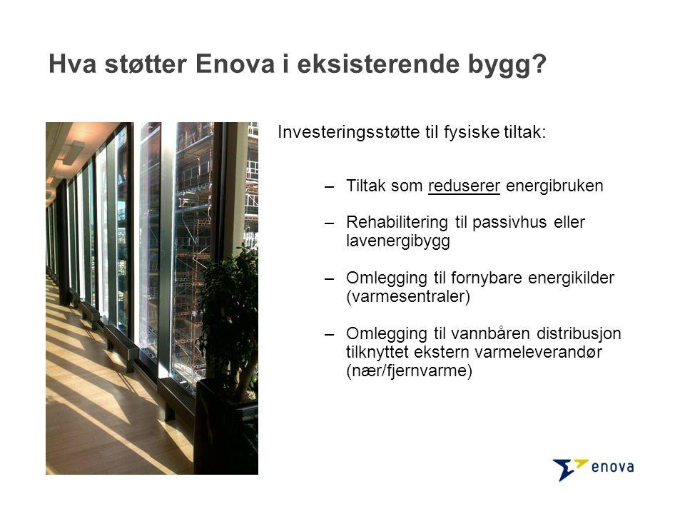 Hva støtter Enova i eksisterende bygg
