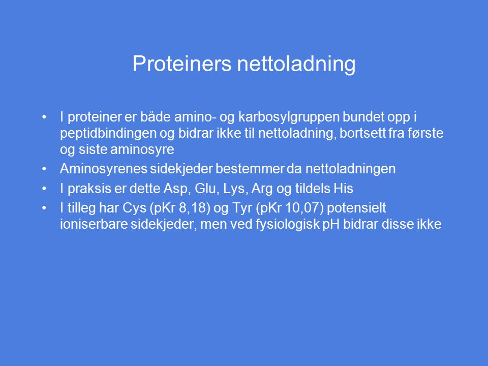 Proteiners nettoladning