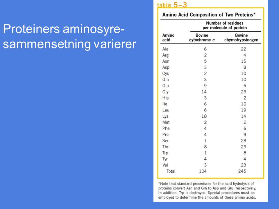 Proteiners aminosyre- sammensetning varierer