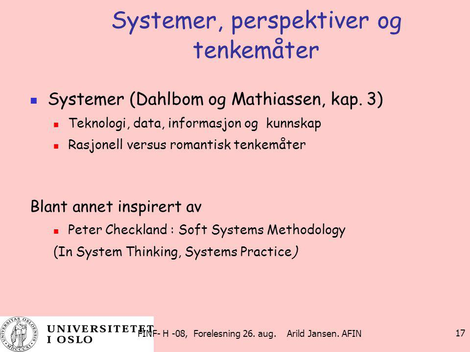 Systemer, perspektiver og tenkemåter