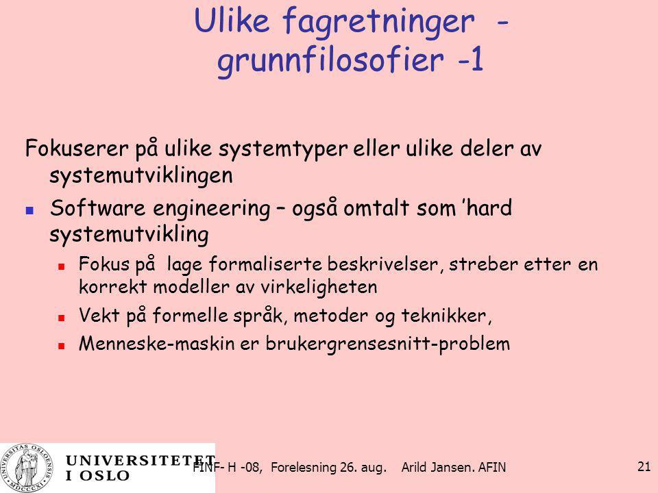Ulike fagretninger - grunnfilosofier -1