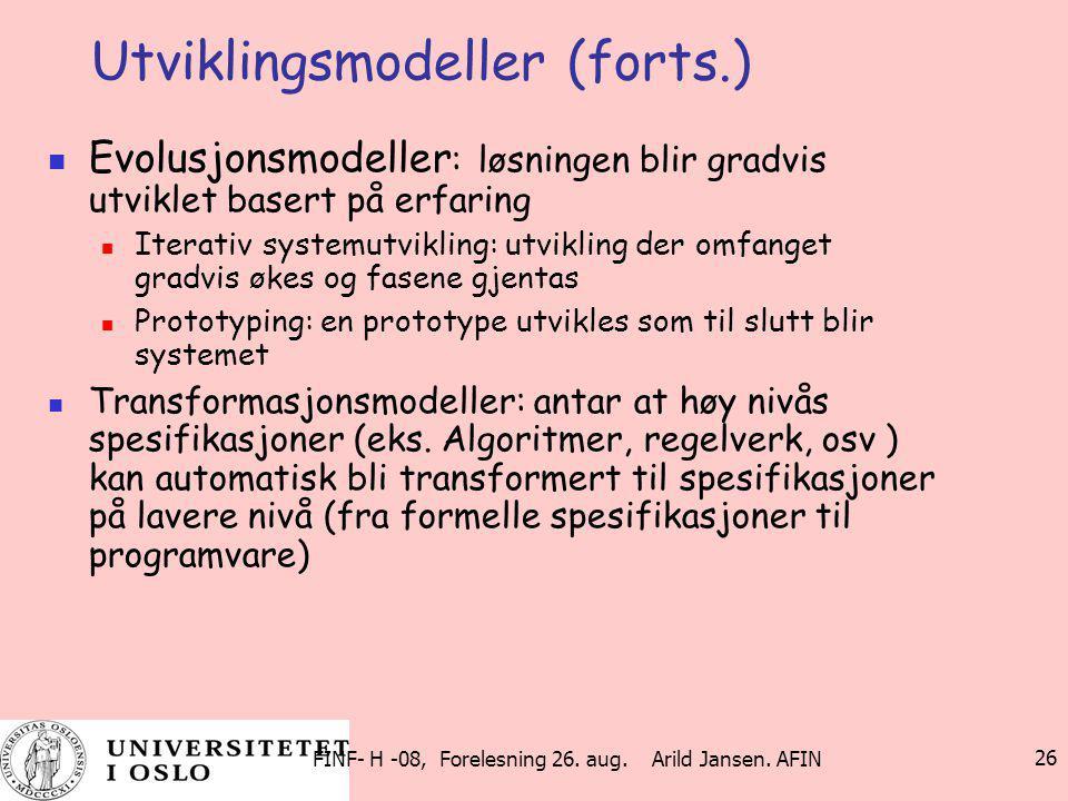 Utviklingsmodeller (forts.)